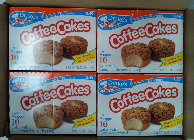 coffee cakes individually packs of 10 per box